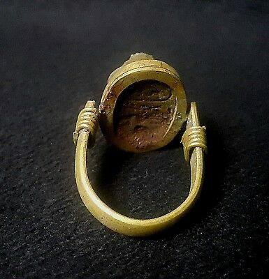 RARE ANCIENT EGYPTIAN Copper RING with Scarab f New Kingdom (1549–1069 BC