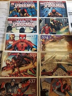 The Amazing Spider-man #529- 538   Full Civil War Run  Bag/Board
