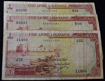 3 Vintage Libanaise Lebanon Une Livre Bank Notes