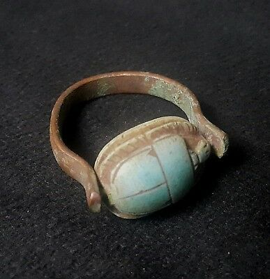 RARE ANCIENT EGYPTIAN Copper RING with Scarab i New Kingdom (1549–1069 BC