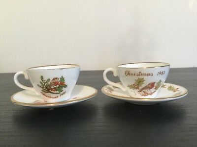 2 miniature Christmas cups and saucers 1981 and 1982 by caverswall