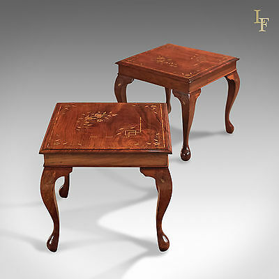 A Pair of Mid-Century Side Tables, Asian Walnut, Brass Inlay / Boule work, Lamp