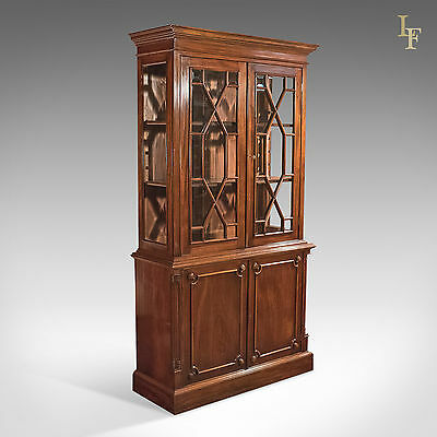 Mid-Century, Glazed, Bookcase, Cabinet, Georgian Taste, Mahogany, English