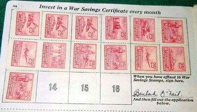 WAR SAVINGS REVENUE STAMPS SPITFIRE TANKS SHIPS SOLDIERS  LOT of 13 CANADA