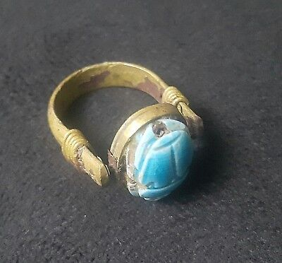 RARE ANCIENT EGYPTIAN Copper RING with Scarab L New Kingdom (1549–1069 BC