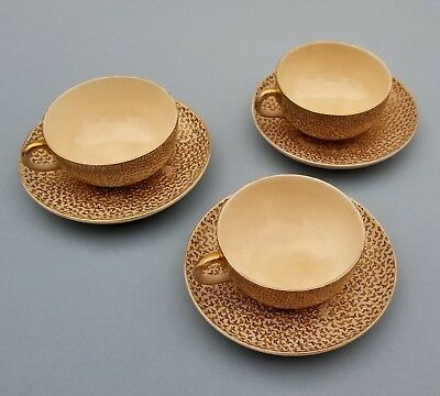 3 Meiji  Satsuma Cups and Saucers.  Hand Painted with Thousand Butterflies Desig