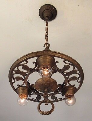 A PAIR! of Antique VIRDEN Spanish Revival Light Fixtures Chandelier - Restored!