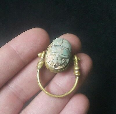 RARE ANCIENT EGYPTIAN Copper RING with Scarab m New Kingdom (1549–1069 BC