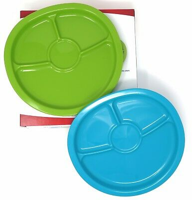 NUK KIDS SET OF 2 RECYCLED PLASTIC DIVIDED Plates (1 GREEN AND 1 BLUE) BPA Free