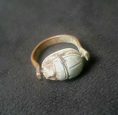 RARE ANCIENT EGYPTIAN Copper RING with Scarab d New Kingdom (1549–1069 BC