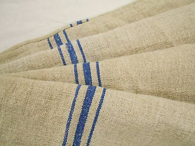 Vtg Antique BLUE STRIPE HEMP LINEN Upholstery Fabric FEED SACK GRAIN BAG 22x44
