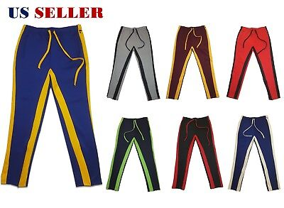 Men's Hipster Hip Hop Poly Side Ankle Zip Long Drawstring Techno Track Pants