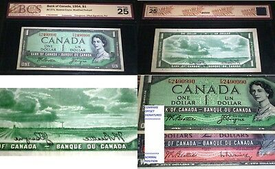 Offset Signature   Error Banknote ,$1 1954 Bank Of Canada