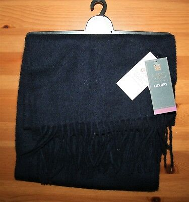 BNWT M&S Collection Luxury Pure Cashmere Scarf in Navy Blue Cashmere 25 x 165cm