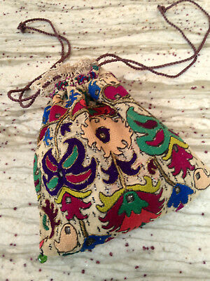 Antique Victorian Embroidered Ethnic Turkish Ottoman Bag/pouch