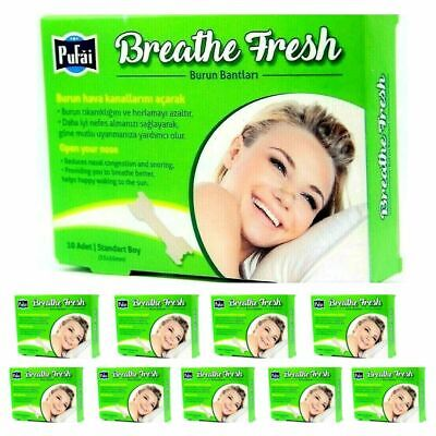 Nasal strips, 100 piece Breathe Fresh nasal strips standart 55 x 16 mm by Pufai