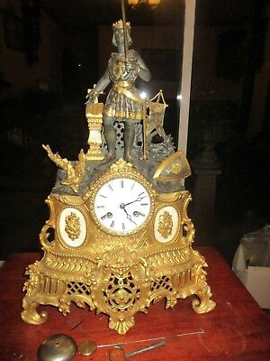 Antique French Myroy Freres 8 Day King Richard 1st Bronze/Ormalu Mantel Clock.