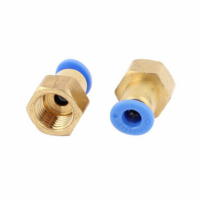 2 Pcs 1/4BSP Female Threaded Straight Quick Push in Connect Tube Fittings
