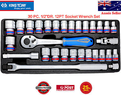 """KING TONY 30 PC.1/2""""DR. 12PT Socket Wrench Flexible Hand,Universal Joint,Ratchet"""