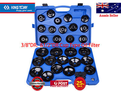 """KING TONY 3/8""""DR1/2""""DR.65-120mm Withstands115.2Nm Cup Type Oil Filter Wrench Set"""