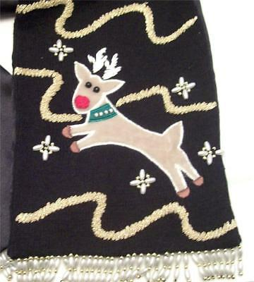 Rudolph Reindeer Christmas Black Scarf Applique Embroidery Bead Fringe 59 In