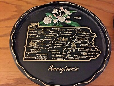 Vintage Pennsylvania Tray - Black State Tray - Round Metal Serving - Map