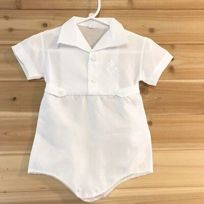 Vintage Baby Romper One Piece White Baptism Diaper Cover Flowers Embroidery