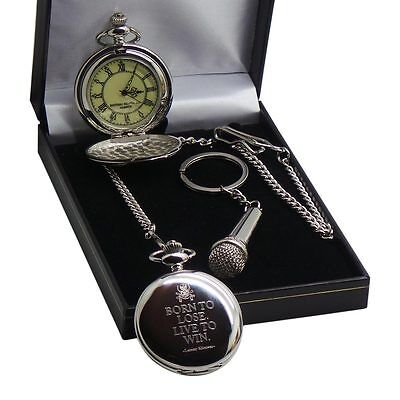 LEMMY Quote POCKET WATCH & Microphone Keyring Motorhead Luxury Gift Box Set