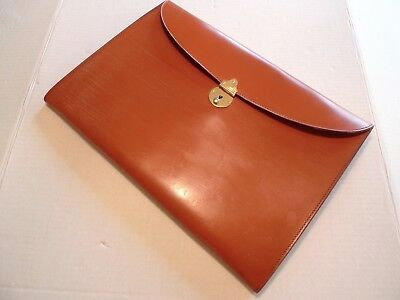 Rutherfords- Made @ England- Bridle Leather Document Case / Portfolio-With Lock