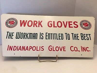Vintage Indianapolis Glove Co., Inc Work Gloves Sign NICE