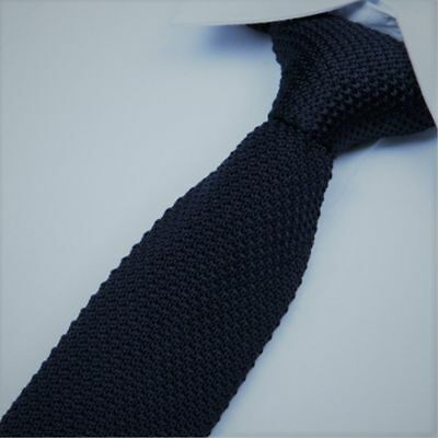 Men's Tie -Navy Colour - Knit Knitted - Necktie Narrow Slim Skinny- Brand New