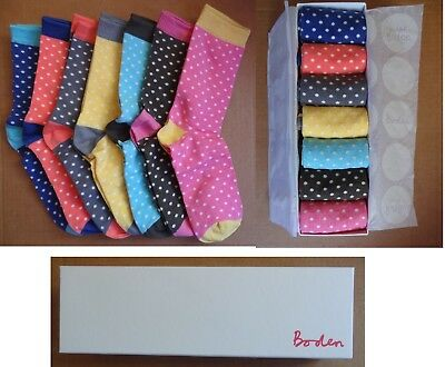 Boden  Ladies/Womens 7 pack Socks In Brand New Gift Box-Size One (3-7)