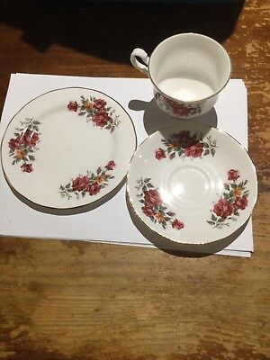 Vintage QUEEN ANNE Gold Rimmed Fine Bone China TEA CUP SAUCER and PLATE TRIO