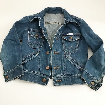Vintage Wrangler 7/8 Denim Jacket 70s Kids Med Wash Pockets Snaps Fall