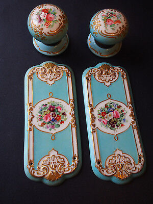 2 Antique 1874 English Registry RAISED Gold Turquoise Floral Hand P. Door Knobs