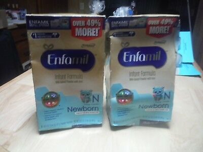 Lot of 2 Enfamil Newborn Baby Formula - Two 16.6 oz Refill Packages per box 1/18
