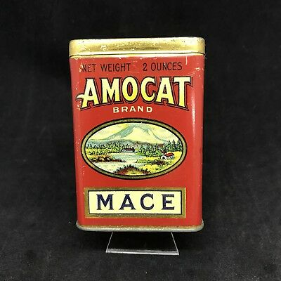 2 Oz  Amocat Brand Mace Spice Tin Tacoma  Backwards Wa Mt Rainier Litho