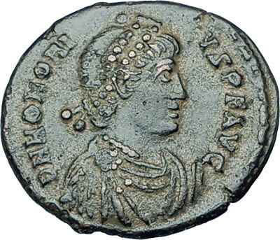 HONORIUS Crowned by Victory 395AD Constantinople Ancient Roman Coin i65904