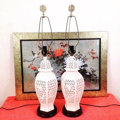 Pair Of Vintage Midcentury Asian Lamps Blanc De Chine Jars Brass Chinese Finials