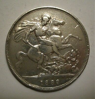 1889 Victoria Great Britain (UK) Crown Silver Coin