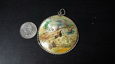 Vintage Antique Silver Persian Mother of Pearl Pendant Hand Painted BEAUTY A51