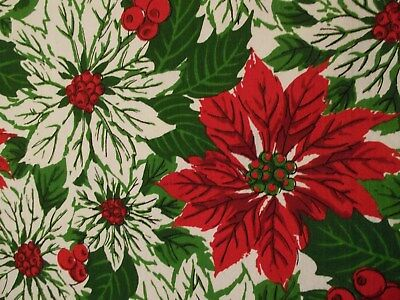 Classic Christmas Cotton Tablecloth Poinsettias Green Holly Red Berries 51 x 66