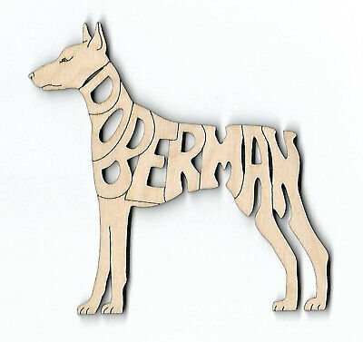 Doberman Pinscher Dog laser cut and engraved wood Magnet