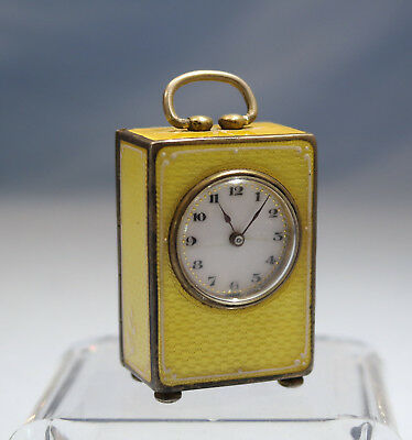 Swiss Sterling Silver Guilloche Enamel Sub Miniature 8 Day Wera Carriage Clock