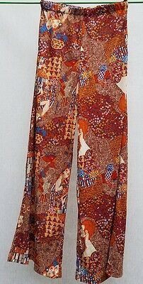 Nylon Tricot Antron bell bottom p.j. Pants Psychedelic Faces vtg 60's