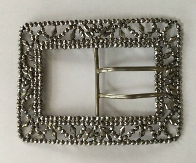 "LARGE Antique Georgian/Victorian Steel Cut Riveted Belt Buckle, Perfect, 4"" X 3"""