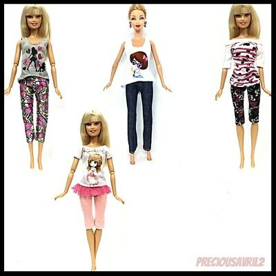 Barbie Doll Clothes-4 Casual Pants/Top Sets/Clothes/Outfit/Evening/Outfit/Casual