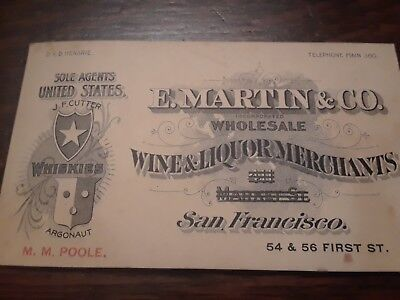 Angique whiskey advertisement E.MARTIN&CO. S.F. Cali.