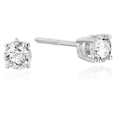 1/2 cttw Certified Natural Diamond Stud Earrings 14K White Gold (I1-I2 Clarity)