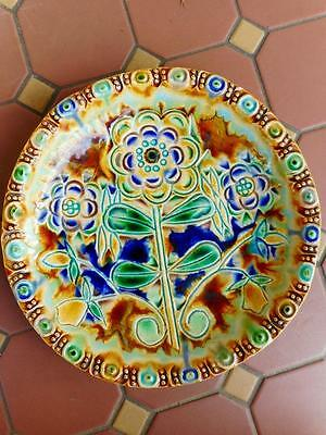 c.1890's Ornate Flower Themed Colourful Majolica 25cm Plate Hand Painted
